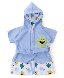 Pink Rabbit Hooded Bathrobe Cartoon Print - Blue White