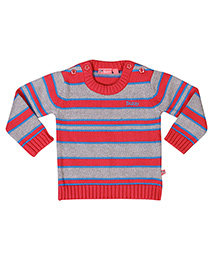 Buzzy Long Sleeves Stripes Pattern Sweater - Red Grey