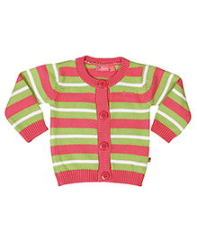 Buzzy Long Sleeves Striped Pattern Cardigan - Multicolor