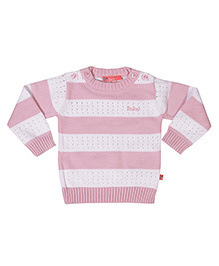 Buzzy Long Sleeves Stripes Pattern Sweater - Light Pink White