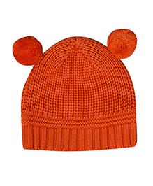 Buzzy Knitted Winter Wear Cap With 2 Pom Poms - Orange