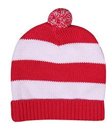 Buzzy Knitted Winter Wear Stripes Cap With Pom Pom - Fuchsia White