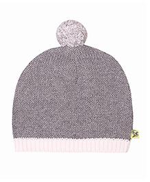Buzzy Knitted Winter Wear Cap With Pom Pom - Grey