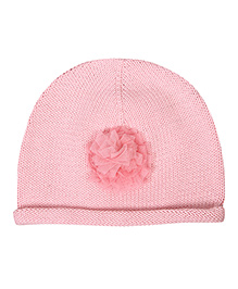 Buzzy Knitted Winter Wear Cap With Mesh Floral Applique - Pink