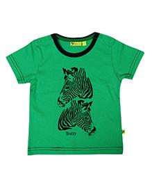 Buzzy Half Sleeves Zebra Printed T-Shirt - Green