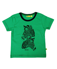 Buzzy Half Sleeves Zebra Printed T-Shirt - Green