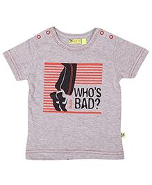 Buzzy Half Sleeves Printed T-Shirt - Grey Melange