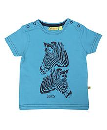 Buzzy Half Sleeves Zebra Printed T-Shirt - Blue