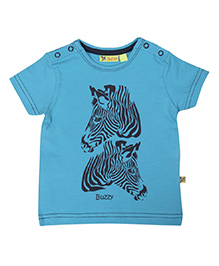 Buzzy Half Sleeves Zebra Printed T-Shirt - Blue