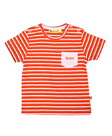 Buzzy Half Sleeves Stripes T-Shirt - Red