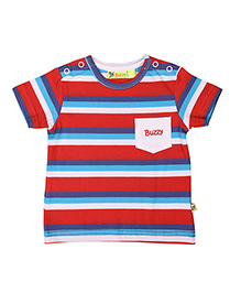Buzzy Half Sleeves Stripes T-Shirt - Red Blue