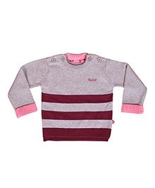 Buzzy Long Sleeves Stripes Pattern Sweater - Grey Pink Maroon