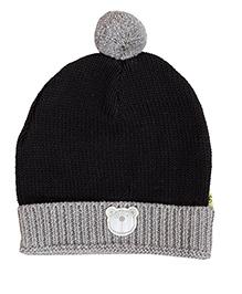 Buzzy Winter Wear Cap With Pom Pom And Teddy Face Patch - Black