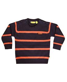 Buzzy Long Sleeves Stripes Pattern Sweater - Navy Orange