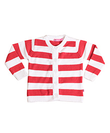 Buzzy Long Sleeves Stripes Pattern Cardigan - White Red