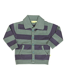 Buzzy Full Sleeves Stripes Cardigan With Pockets - Green Navy