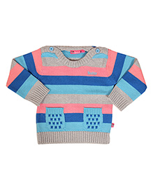 Buzzy Long Sleeves Stripes Pattern Sweater With Pockets - Grey Blue Aqua Pink