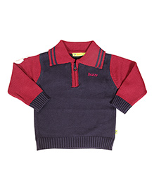 Buzzy Long Sleeves Sweater - Navy Red