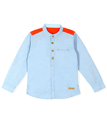 Cherry Crumble California Color Block Henley Shirt - Chambray Blue