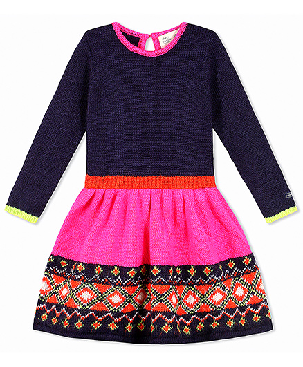 Cherry Crumble California Mexican Print Premium Soft Sweater Knit Dress - Midnight Blue