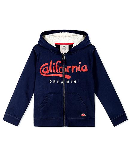 Cherry Crumble California Fleece Zip Up Hoodie - Midnight Blue