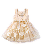 Littleopia Sleeveless Party Frock Bead Detailing - Beige