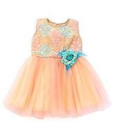 Littleopia Sleeveless Party Frock Flower Applique - Golden Peach