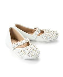 Pikaboo Flowery Feet Mary Jane Shoes - White