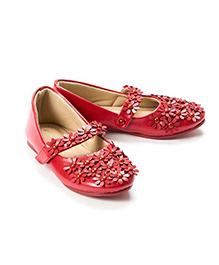 Pikaboo Flowery Feet Mary Jane Shoes - Red
