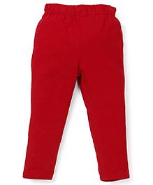 ToffyHouse Full Length Plain Leggings - Red