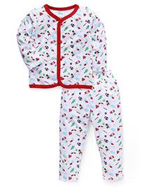 Babyhug Full Sleeves Night Suit Allover Print - White & Red