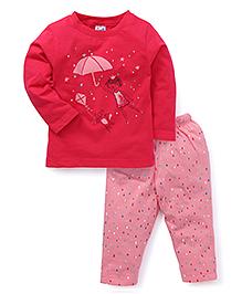 Simply Full Sleeves Top With Printed Leggings - Dark Pink