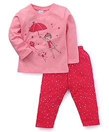 Simply Full Sleeves Top With Printed Leggings - Light Pink