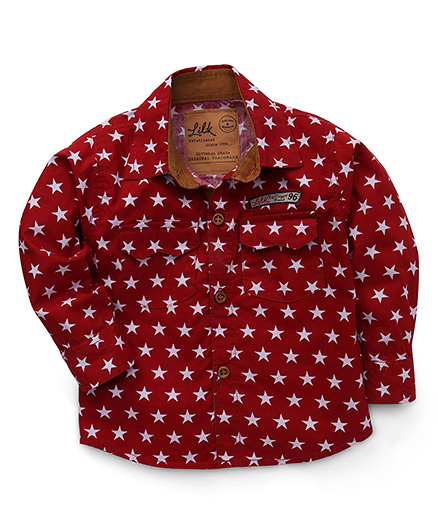 Little Kangaroos Full Sleeves Star Print Shirt - Red