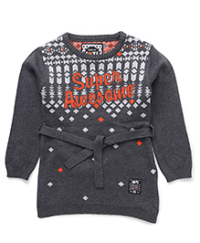 Vitamins Full Sleeves Winter Wear Frock Super Awesome Design - Grey