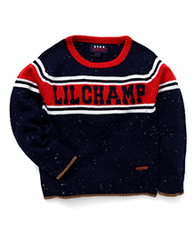 Vitamins Full Sleeves Pullover Sweater Lil Champ Print - Navy Blue