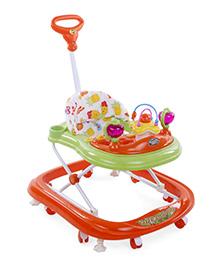 Musical Baby Walker With Push Handle - Orange Green