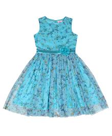 Teeny Tantrums Butterfly Print Mesh Sleveless Dress - Blue
