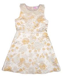 Teeny Tantrums Jacquard Dress With Hand Beaded Detachable Pearl Collar - Cream
