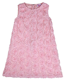 Teeny Tantrums Rose Garden Shift Dress With Pearl Hand Embroidery - Pink