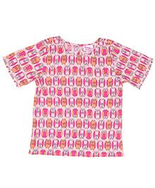Teeny Tantrums Viscose Owl Print Top - Pink