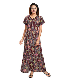 Eazy Half Sleeves Maternity Nursing Night Gown Floral Print - Maroon