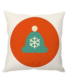 StyBuzz Cushion Cover Snow Cap Print - Orange White