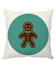 StyBuzz Cushion Cover Gingerbread Man Print - Green White