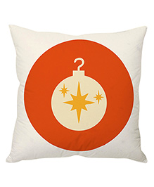 StyBuzz Decoration Ball Christmas Cushion Cover - White & Orange