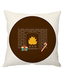 StyBuzz Christmas Fireplace Cushion Cover - White & Brown