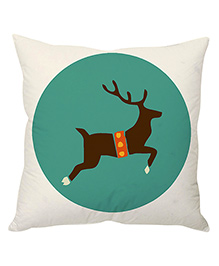 StyBuzz Reindeer Art Print Christmas Cushion Cover - White & Green