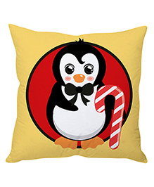 StyBuzz Red Penguin Christmas Cushion Cover - Beige