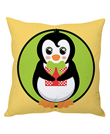 StyBuzz Penguin With Gift Christmas Cushion Cover - Beige