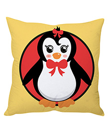 Stybuzz Christmas Cushion Cover Penguin Print - Yellow Red
